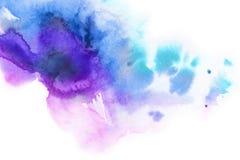 αφηρημένη ανασκόπηση Ο παφλασμός Watercolor χρωμάτισε με το χέρι το μπλε, pi Στοκ Εικόνες