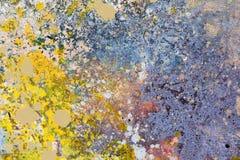 αφηρημένη ανασκόπηση τέχνης Ελαιογραφία στον καμβά μπλε κίτρινος Στοκ φωτογραφία με δικαίωμα ελεύθερης χρήσης