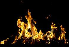 αφηρημένη ανασκόπηση Φλόγες πυρκαγιάς σε μια μαύρη ανασκόπηση Στοκ εικόνες με δικαίωμα ελεύθερης χρήσης