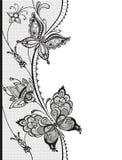 Αφηρημένη δαντέλλα με τα στοιχεία των πεταλούδων και των λουλουδιών Στοκ εικόνες με δικαίωμα ελεύθερης χρήσης