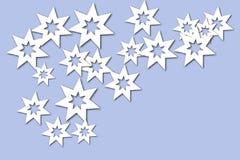 Αφηρημένη απεικόνιση, άσπρα αστέρια σε ένα μπλε υπόβαθρο στοκ φωτογραφίες