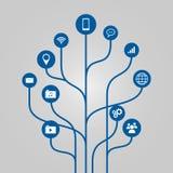 Αφηρημένη απεικόνιση δέντρων εικονιδίων - έννοια τηλεφώνων, επικοινωνίας και τεχνολογίας Στοκ Εικόνα