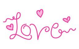 Αφηρημένη απεικόνιση αγάπης Doodle Αγάπη τυπογραφίας Στοκ Εικόνες