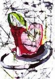 Αφηρημένη απεικόνιση ενός κόκκινου μήλου σε ένα άσπρο υπόβαθρο, σύσταση με τις ρωγμές ελεύθερη απεικόνιση δικαιώματος
