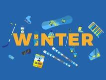 Αφηρημένη απεικόνιση με το χειμώνα ` λέξης ` Στοκ εικόνα με δικαίωμα ελεύθερης χρήσης