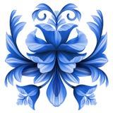 Αφηρημένη απεικόνιση λουλουδιών, μπλε στοιχείο σχεδίου gzhel floral Στοκ εικόνα με δικαίωμα ελεύθερης χρήσης