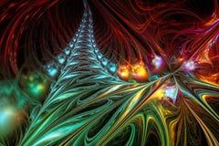 Αφηρημένη απεικόνιση υποβάθρου fractal των πολύχρωμων κυμάτων Στοκ Φωτογραφίες