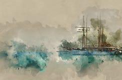 αφηρημένη απεικόνιση ύφους watercolor της ναυτικής έννοιας με την παλαιά βάρκα Στοκ Φωτογραφίες