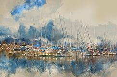 αφηρημένη απεικόνιση ύφους watercolor της ναυτικής έννοιας με την παλαιά βάρκα Στοκ Φωτογραφία