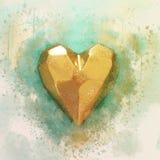 αφηρημένη απεικόνιση ύφους watercolor της χρυσής καρδιάς Στοκ Φωτογραφίες