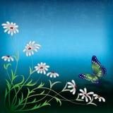 Αφηρημένη απεικόνιση με τα λουλούδια και την πεταλούδα Στοκ Φωτογραφία