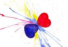 Αφηρημένη απεικόνιση watercolor δύο καρδιών την ημέρα του βαλεντίνου η ανασκόπηση απομόνωσε το λευκό απεικόνιση αποθεμάτων