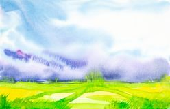 Αφηρημένη απεικόνιση Watercolor ενός ρωσικού τομέα με ένα δάσος στο υπόβαθρο ελεύθερη απεικόνιση δικαιώματος