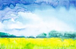 Αφηρημένη απεικόνιση Watercolor ενός ρωσικού τομέα με ένα δάσος στο υπόβαθρο διανυσματική απεικόνιση
