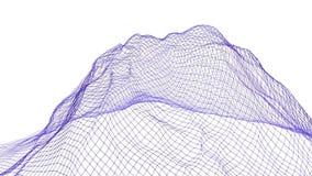 Αφηρημένη απλή βιολέτα που κυματίζει το τρισδιάστατο πλέγμα ή το πλέγμα ως αφηρημένο απλό περιβάλλον Ιώδες γεωμετρικό δομένος περ διανυσματική απεικόνιση