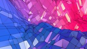 Αφηρημένη απλή μπλε κόκκινη χαμηλή πολυ τρισδιάστατη επιφάνεια ως ζωηρό περιβάλλον Μαλακό γεωμετρικό χαμηλό πολυ υπόβαθρο κινήσεω απεικόνιση αποθεμάτων