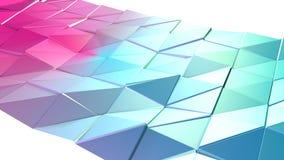 Αφηρημένη απλή μπλε ρόδινη χαμηλή πολυ τρισδιάστατη επιφάνεια ως περιβάλλον τέχνης Μαλακό γεωμετρικό χαμηλό πολυ υπόβαθρο κινήσεω απεικόνιση αποθεμάτων
