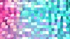 Αφηρημένη απλή μπλε ρόδινη χαμηλή πολυ τρισδιάστατη επιφάνεια ως λάμποντας περιβάλλον Μαλακό γεωμετρικό χαμηλό πολυ υπόβαθρο κινή απεικόνιση αποθεμάτων
