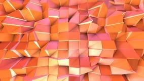 Αφηρημένη απλή ρόδινη πορτοκαλιά χαμηλή πολυ τρισδιάστατη επιφάνεια ως math περιβάλλον Μαλακό γεωμετρικό χαμηλό πολυ υπόβαθρο κιν απεικόνιση αποθεμάτων