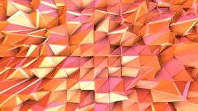 Αφηρημένη απλή ρόδινη πορτοκαλιά χαμηλή πολυ τρισδιάστατη επιφάνεια ως φουτουριστικό περιβάλλον Μαλακό γεωμετρικό χαμηλό πολυ υπό ελεύθερη απεικόνιση δικαιώματος