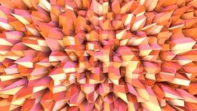 Αφηρημένη απλή ρόδινη πορτοκαλιά χαμηλή πολυ τρισδιάστατη επιφάνεια ως αφηρημένο απλό περιβάλλον Μαλακή γεωμετρική χαμηλή πολυ κί απεικόνιση αποθεμάτων
