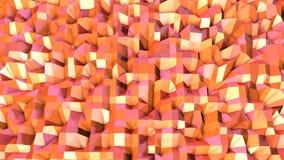 Αφηρημένη απλή ρόδινη πορτοκαλιά χαμηλή πολυ τρισδιάστατη επιφάνεια όπως περιβάλλον Μαλακό γεωμετρικό χαμηλό πολυ υπόβαθρο κινήσε διανυσματική απεικόνιση