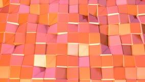 Αφηρημένη απλή ρόδινη πορτοκαλιά χαμηλή πολυ τρισδιάστατη επιφάνεια ως ζωηρό περιβάλλον Μαλακό γεωμετρικό χαμηλό πολυ υπόβαθρο κι ελεύθερη απεικόνιση δικαιώματος