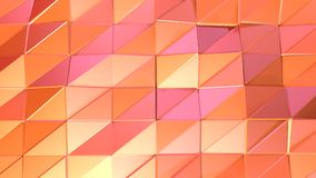 Αφηρημένη απλή ρόδινη πορτοκαλιά χαμηλή πολυ τρισδιάστατη επιφάνεια ως περιβάλλον υπολογιστών Μαλακό γεωμετρικό χαμηλό πολυ υπόβα απεικόνιση αποθεμάτων