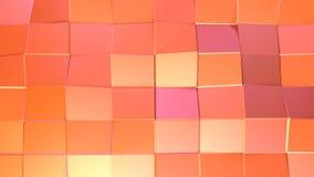 Αφηρημένη απλή ρόδινη πορτοκαλιά χαμηλή πολυ τρισδιάστατη επιφάνεια ως κομψό περιβάλλον σχεδίων Μαλακή γεωμετρική χαμηλή πολυ κίν ελεύθερη απεικόνιση δικαιώματος