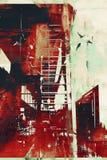 Αφηρημένη αρχιτεκτονική με το κόκκινο grunge Στοκ Εικόνα
