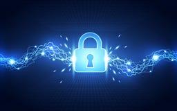 Αφηρημένη ασφάλεια τεχνολογίας στο υπόβαθρο παγκόσμιων δικτύων, διανυσματική απεικόνιση Στοκ Εικόνα