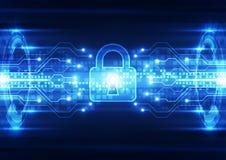 Αφηρημένη ασφάλεια τεχνολογίας στο υπόβαθρο παγκόσμιων δικτύων, διανυσματική απεικόνιση Στοκ εικόνα με δικαίωμα ελεύθερης χρήσης