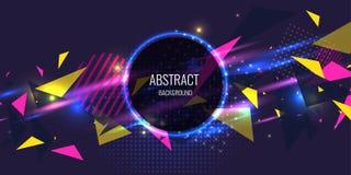 Αφηρημένη αφίσα για την τοποθέτηση του κειμένου και των πληροφοριών Γεωμετρικές μορφές και πυράκτωση νέου ενάντια διανυσματική απεικόνιση