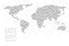 Αφηρημένη γεωμετρική έγχρωμη εικονογράφηση σχεδίου έννοιας μορφής παγκόσμιων χαρτών σχεδίων εικονοκυττάρου σημείων κύκλων μαύρη Στοκ εικόνα με δικαίωμα ελεύθερης χρήσης