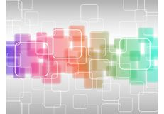 Αφηρημένη γεωμετρική γραμμή υποβάθρου διαφανών χρωματισμένων τετραγώνων που απομονώνονται στο ανοικτό γκρι υπόβαθρο ελεύθερη απεικόνιση δικαιώματος