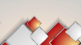 Αφηρημένη γκρίζα και κόκκινη ασημένια τηλεοπτική ζωτικότητα τετραγώνων φιλμ μικρού μήκους