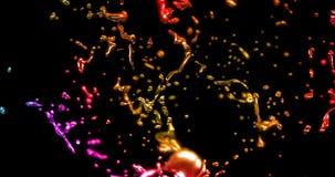 Αφηρημένη γλυκού νερού επίδραση χρώματος παφλασμών πολυ με τις πτώσεις στο μαύρο υπόβαθρο, έννοια της εκπαίδευσης και της φαντασί διανυσματική απεικόνιση