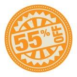 Αφηρημένη γραμματόσημο ή ετικέτα με το κείμενο 55 τοις εκατό από το γραπτό INS διανυσματική απεικόνιση