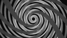 Αφηρημένη γραπτή σπειροειδής περιστροφή σηράγγων, άνευ ραφής βρόχος : Ατελείωτη χοάνη που περιστρέφεται στο μαύρο υπόβαθρο απεικόνιση αποθεμάτων