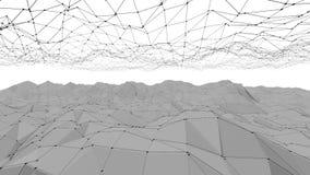 Αφηρημένη γραπτή χαμηλή πολυ επιφάνεια κυματισμού ως φουτουριστικό κυβερνοχώρο Γκρίζο αφηρημένο γεωμετρικό δομένος περιβάλλον διανυσματική απεικόνιση