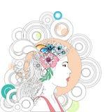 αφηρημένη γυναίκα άνοιξη διανυσματική απεικόνιση