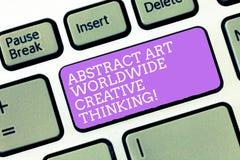 Αφηρημένη δημιουργική σκέψη τέχνης κειμένων γραφής παγκοσμίως Η έννοια που σημαίνει τη σύγχρονη έμπνευση πληκτρολογεί καλλιτεχνικ στοκ εικόνες με δικαίωμα ελεύθερης χρήσης