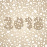2018 αφηρημένη διανυσματική απεικόνιση καλής χρονιάς Διακοσμητικό καφετί άσπρο υπόβαθρο με snowflakes, σπινθηρίσματα, φω'τα Στοκ Εικόνες