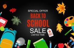 Αφηρημένη διανυσματική απεικόνιση πίσω στο υπόβαθρο σχολικής πώλησης με τα μειωμένα φύλλα φθινοπώρου Στοκ Φωτογραφίες