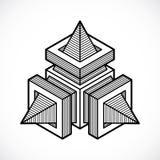 Αφηρημένη διανυσματική γεωμετρική μορφή, τρισδιάστατη polygonal μορφή Στοκ Εικόνες