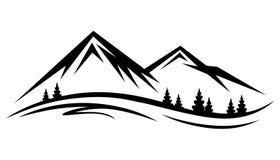 Αφηρημένη διανυσματική φύση ή υπαίθρια σκιαγραφία σειράς βουνών ελεύθερη απεικόνιση δικαιώματος