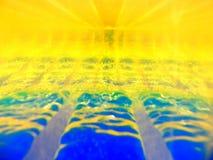 Αφηρημένη εικόνα δύο ρευστών με τις διαφορετικές πυκνότητες που αλληλεπιδρούν η μια με την άλλη Περιέχει το χρυσό, μπλε χρώματα,  στοκ εικόνες