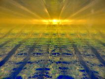 Αφηρημένη εικόνα δύο ρευστών με τις διαφορετικές πυκνότητες που αλληλεπιδρούν η μια με την άλλη Περιέχει το χρυσό, μπλε, πράσινα  στοκ φωτογραφία