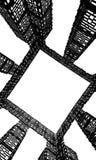 Αφηρημένη εικόνα, σκοτεινό γκρίζο χρώμα, κατασκευή μετάλλων των γεωμετρικών μορφών σε ένα άσπρο υπόβαθρο, τετραγωνικά σχέδια διανυσματική απεικόνιση
