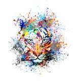 Αφηρημένη εικόνα τέχνης με την τίγρη Στοκ φωτογραφία με δικαίωμα ελεύθερης χρήσης